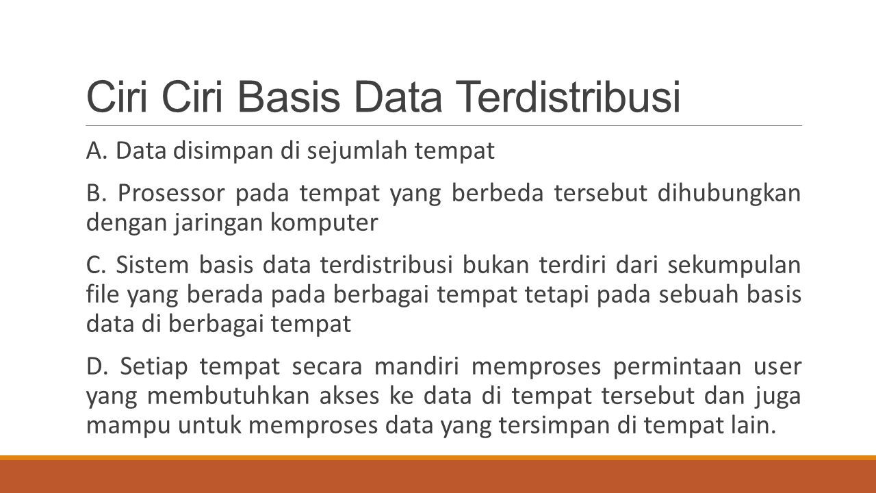 Ciri Ciri Basis Data Terdistribusi