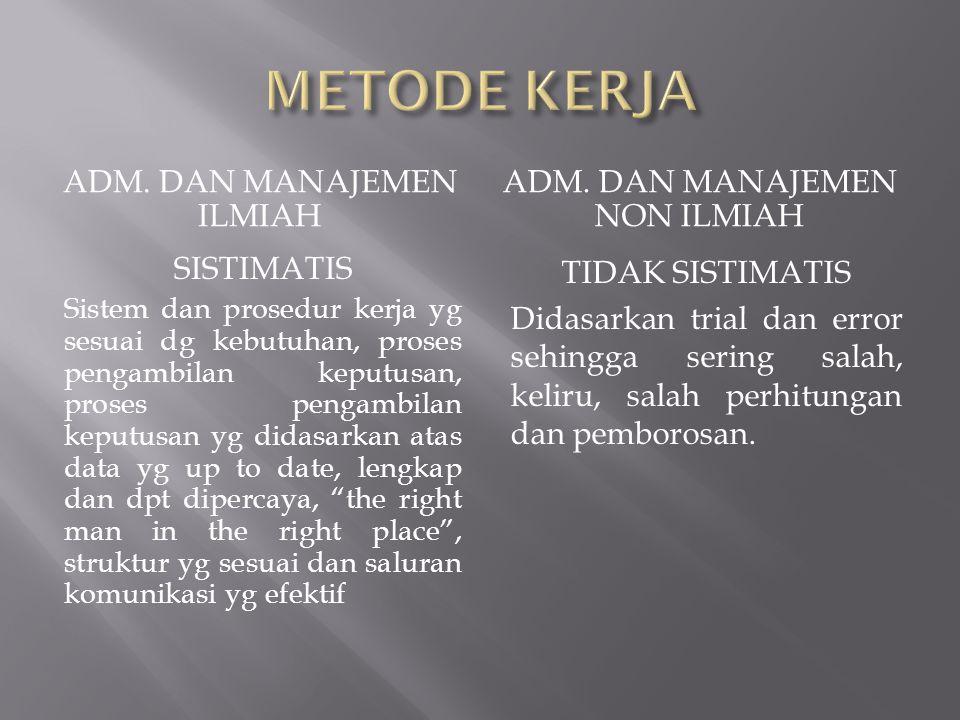METODE KERJA Adm. Dan manajemen ilmiah Adm. Dan manajemen non ilmiah