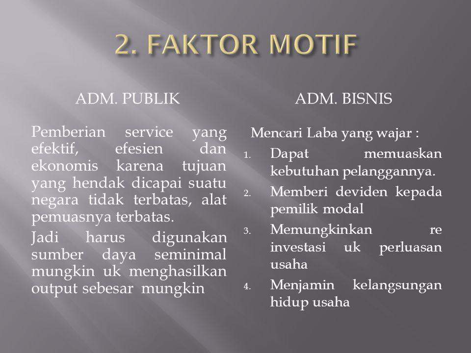 2. FAKTOR MOTIF ADM. PUBLIK ADM. BISNIS