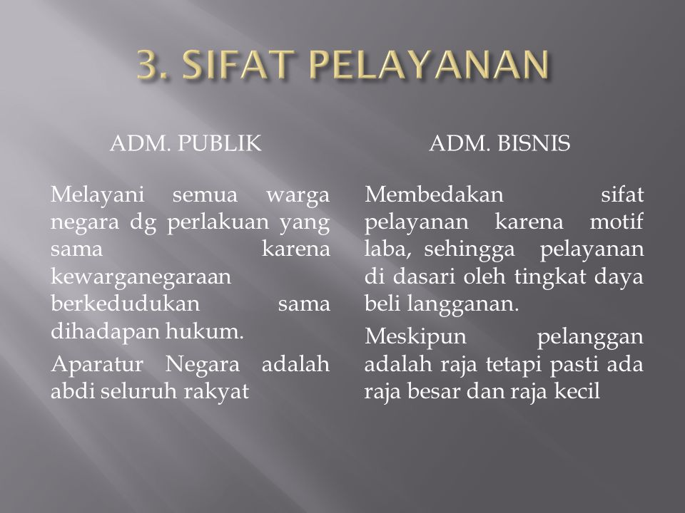 3. SIFAT PELAYANAN ADM. PUBLIK ADM. BISNIS