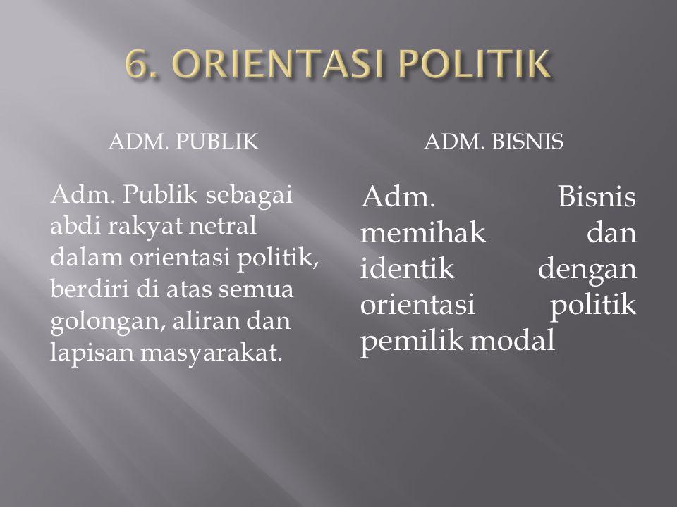 6. ORIENTASI POLITIK ADM. PUBLIK. ADM. BISNIS.