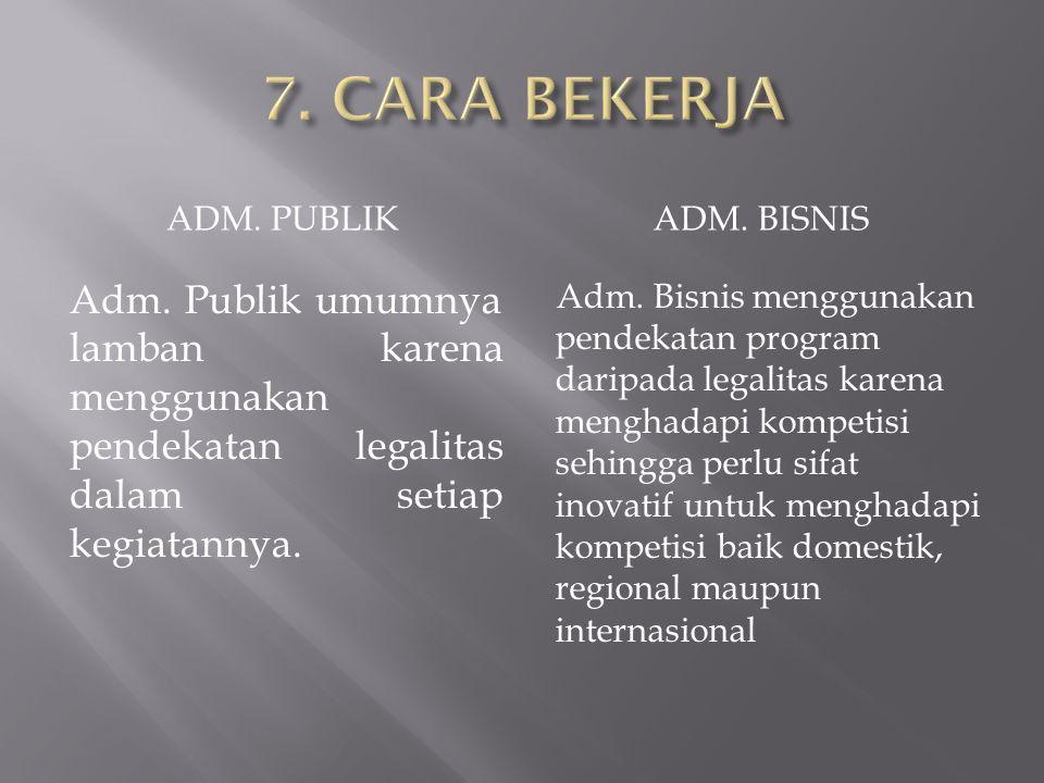 7. CARA BEKERJA ADM. PUBLIK. ADM. BISNIS. Adm. Publik umumnya lamban karena menggunakan pendekatan legalitas dalam setiap kegiatannya.