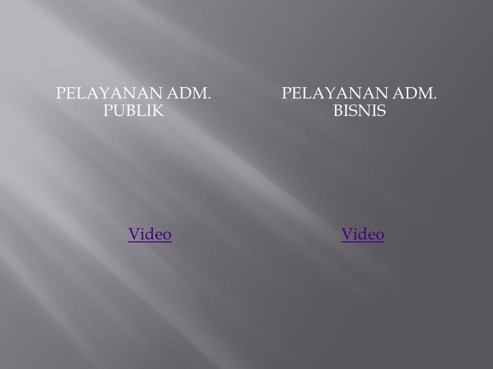 Pelayanan adm. publik Pelayanan adm. bisnis Video Video