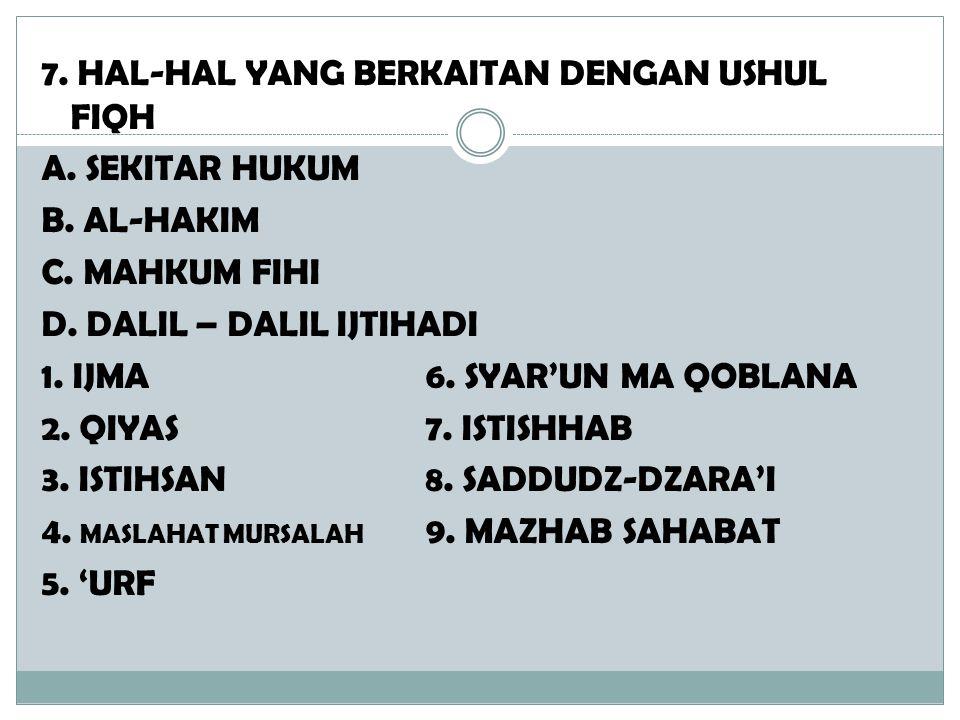 7. HAL-HAL YANG BERKAITAN DENGAN USHUL FIQH A. SEKITAR HUKUM B
