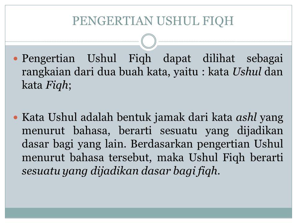 PENGERTIAN USHUL FIQH Pengertian Ushul Fiqh dapat dilihat sebagai rangkaian dari dua buah kata, yaitu : kata Ushul dan kata Fiqh;