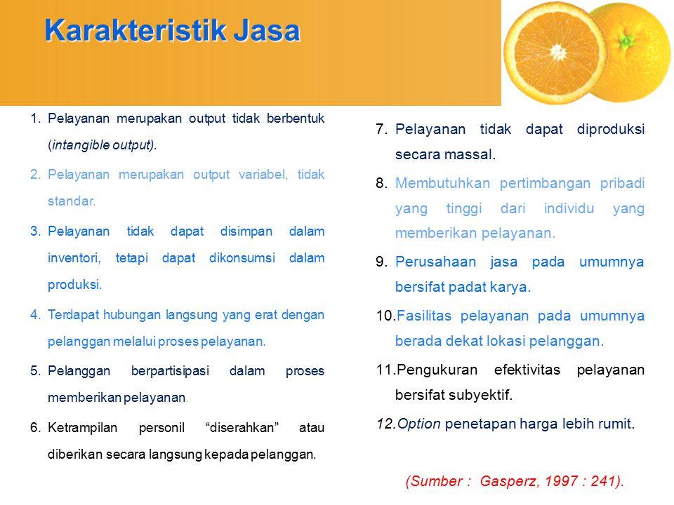 Karakteristik Jasa Pelayanan tidak dapat diproduksi secara massal.