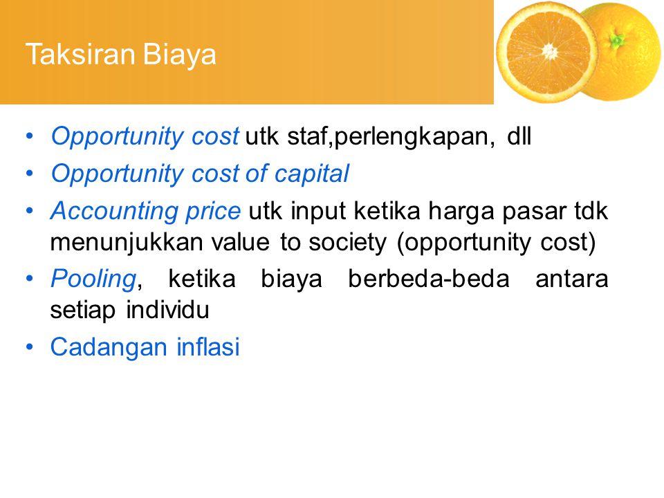 Taksiran Biaya Opportunity cost utk staf,perlengkapan, dll