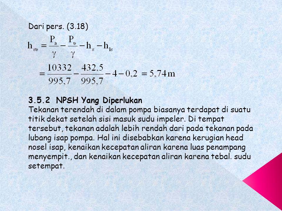 Dari pers. (3.18) 3.5.2 NPSH Yang Diperlukan.