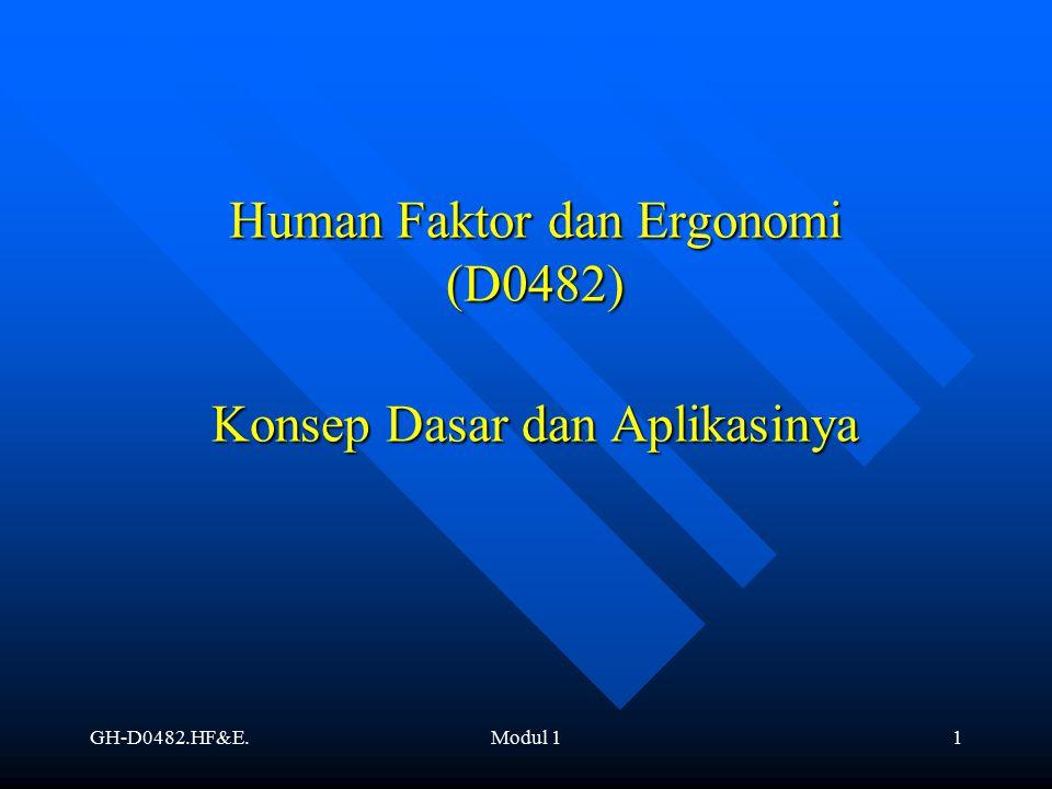Human Faktor dan Ergonomi (D0482) Konsep Dasar dan Aplikasinya