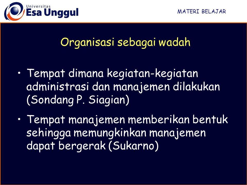 Organisasi sebagai wadah
