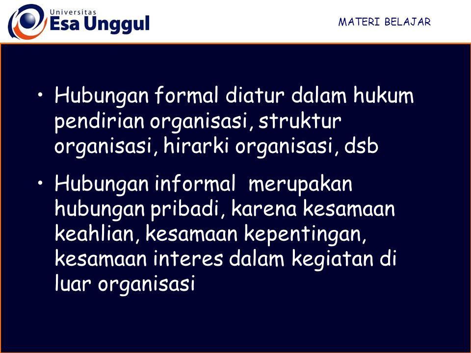 MATERI BELAJAR Hubungan formal diatur dalam hukum pendirian organisasi, struktur organisasi, hirarki organisasi, dsb.