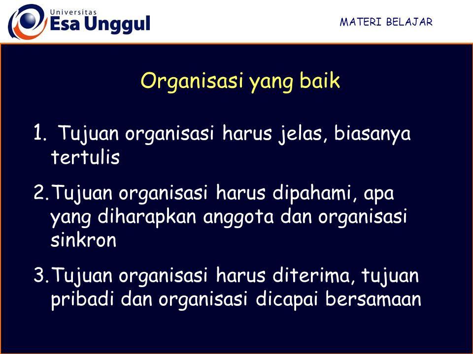 Tujuan organisasi harus jelas, biasanya tertulis