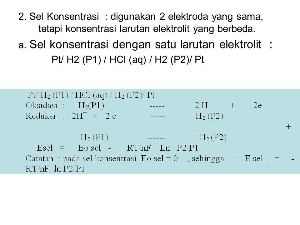 2. Sel Konsentrasi : digunakan 2 elektroda yang sama, tetapi konsentrasi larutan elektrolit yang berbeda.