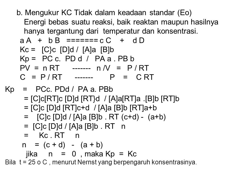 b. Mengukur KC Tidak dalam keadaan standar (Eo)
