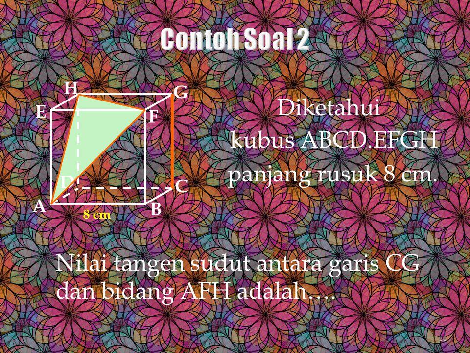 Contoh Soal 2 Diketahui kubus ABCD.EFGH panjang rusuk 8 cm.