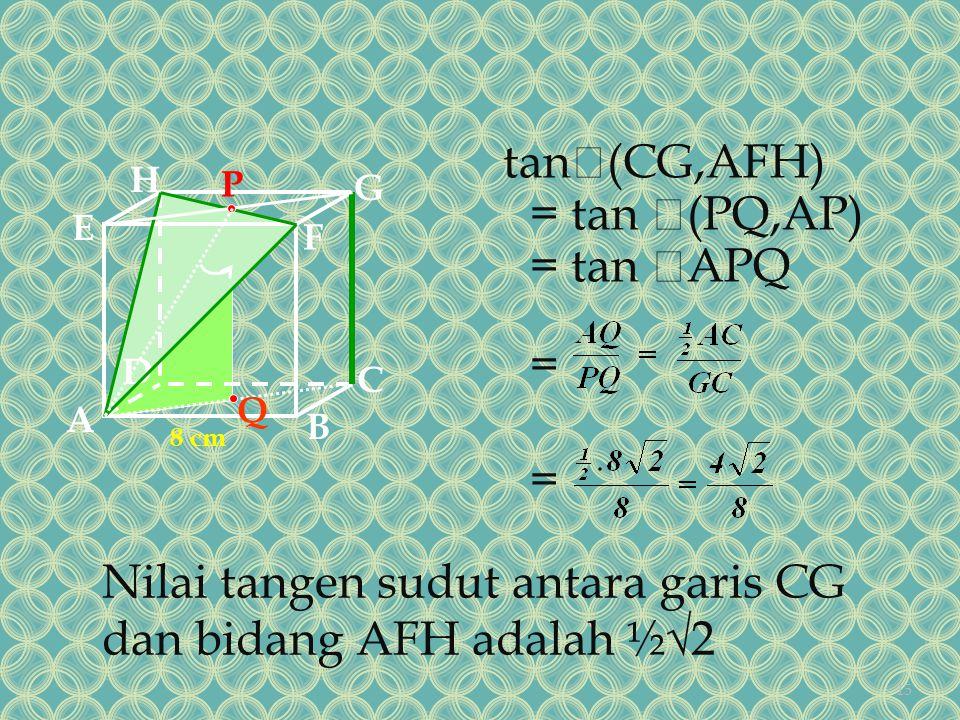 Nilai tangen sudut antara garis CG dan bidang AFH adalah ½√2
