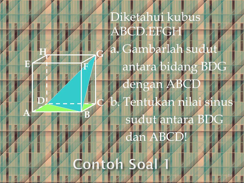 Contoh Soal 1 Diketahui kubus ABCD.EFGH a. Gambarlah sudut