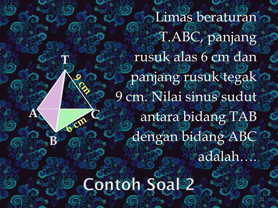 Contoh Soal 2 Limas beraturan T.ABC, panjang rusuk alas 6 cm dan