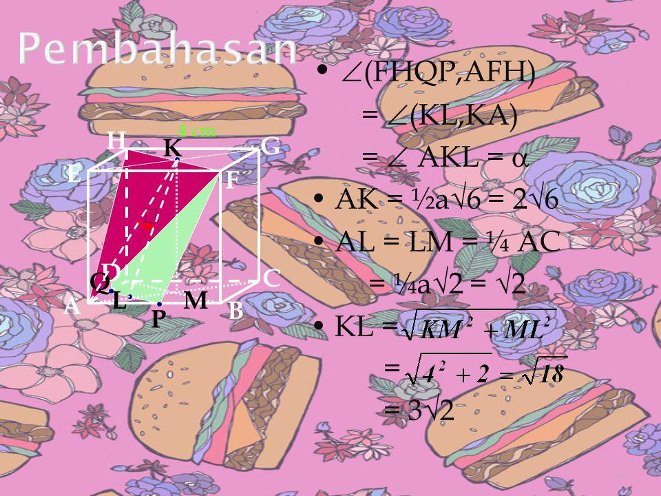 Pembahasan • (FHQP,AFH) = (KL,KA) =  AKL =  • AK = ½a√6 = 2√6