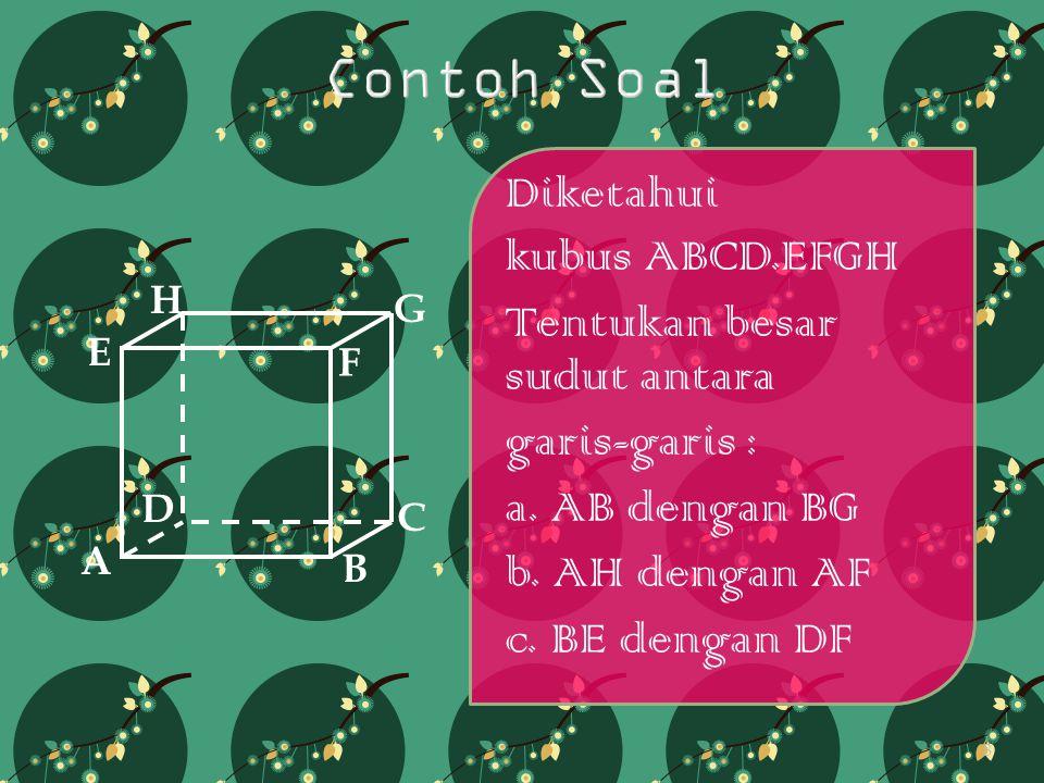 Contoh Soal Diketahui kubus ABCD.EFGH Tentukan besar sudut antara