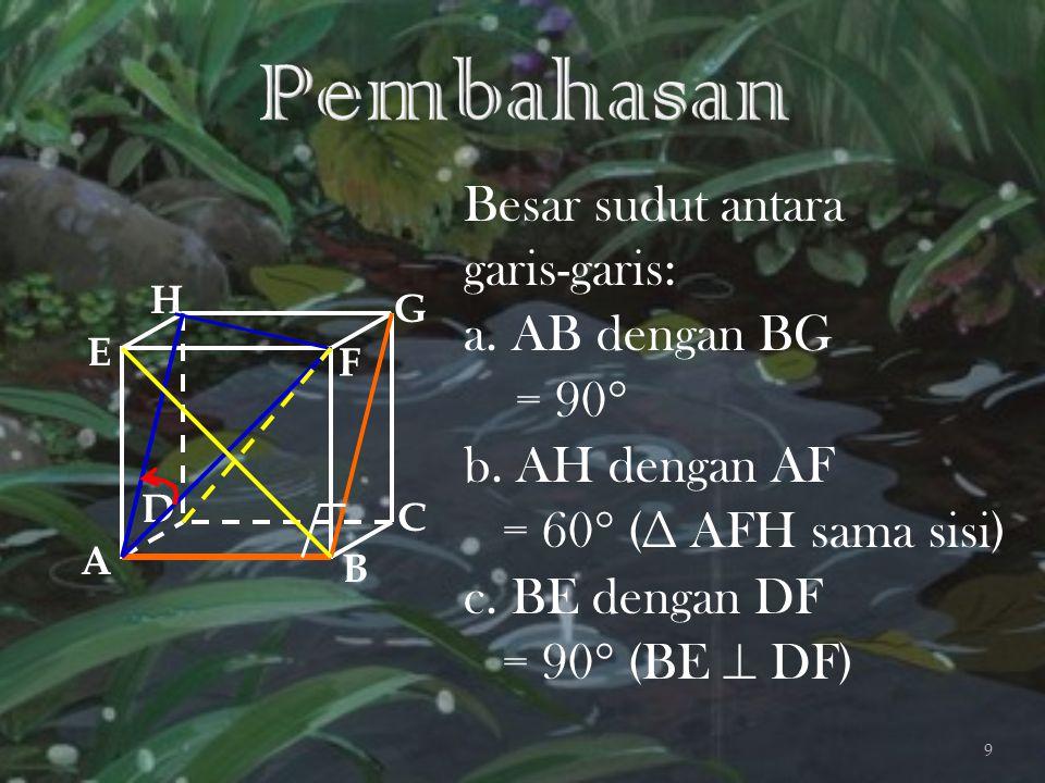 Pembahasan Besar sudut antara garis-garis: a. AB dengan BG = 90