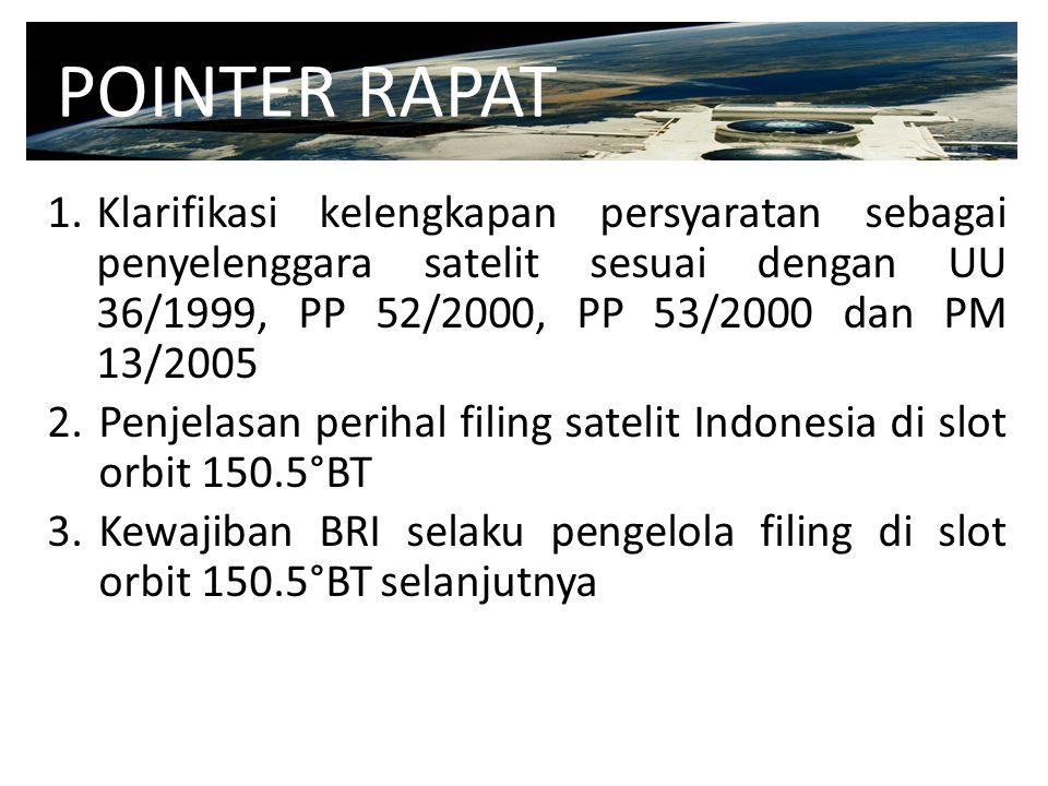 POINTER RAPAT Klarifikasi kelengkapan persyaratan sebagai penyelenggara satelit sesuai dengan UU 36/1999, PP 52/2000, PP 53/2000 dan PM 13/2005.