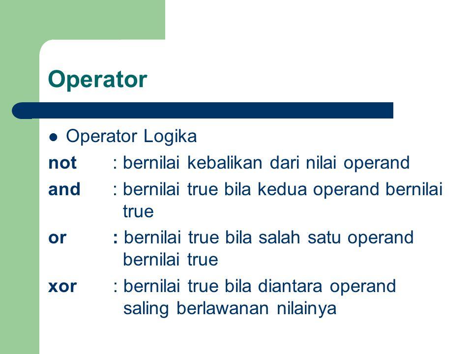 Operator Operator Logika not : bernilai kebalikan dari nilai operand
