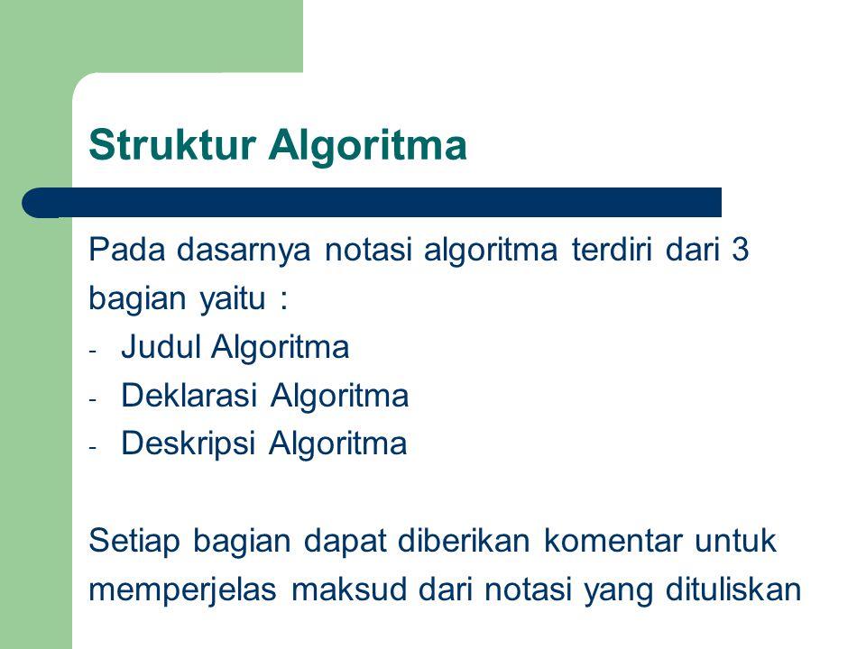 Struktur Algoritma Pada dasarnya notasi algoritma terdiri dari 3