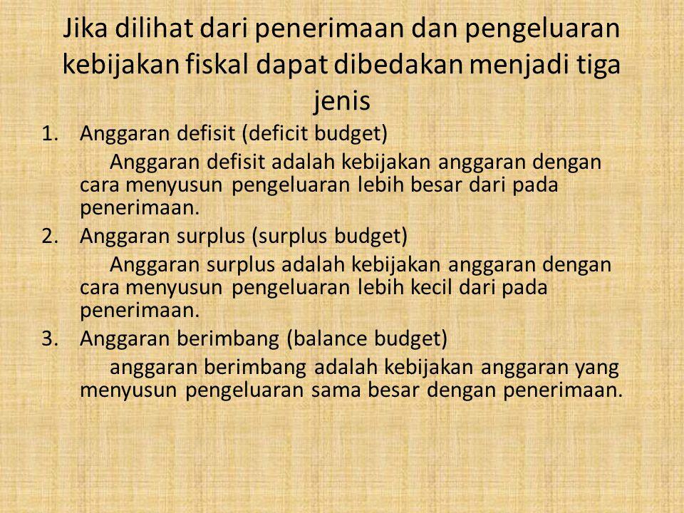 Jika dilihat dari penerimaan dan pengeluaran kebijakan fiskal dapat dibedakan menjadi tiga jenis