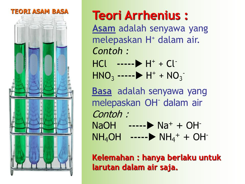 Asam adalah senyawa yang melepaskan H+ dalam air. Contoh :