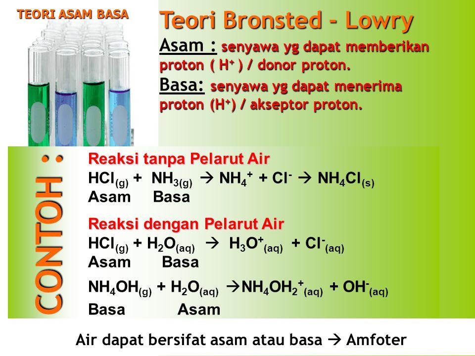 Air dapat bersifat asam atau basa  Amfoter