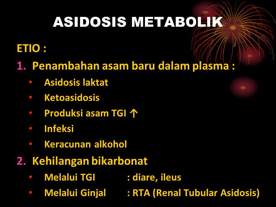 ASIDOSIS METABOLIK ETIO : Penambahan asam baru dalam plasma :