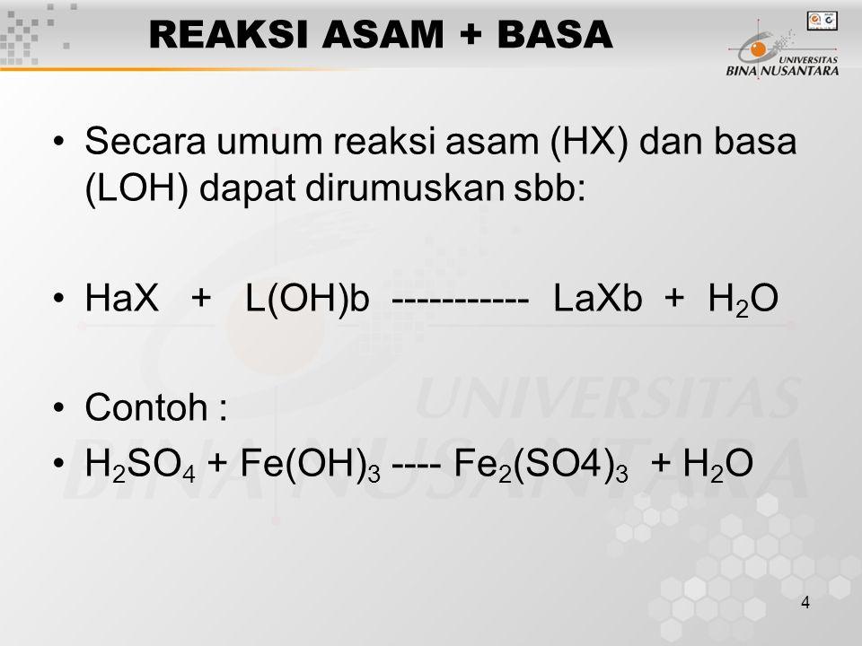 REAKSI ASAM + BASA Secara umum reaksi asam (HX) dan basa (LOH) dapat dirumuskan sbb: HaX + L(OH)b ----------- LaXb + H2O.