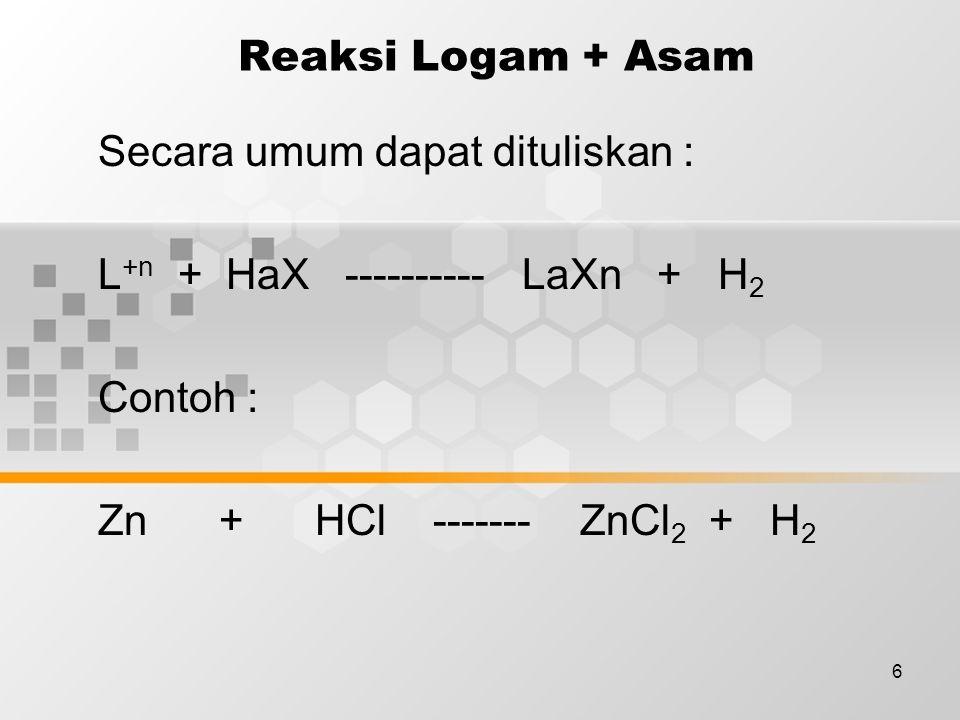 Reaksi Logam + Asam Secara umum dapat dituliskan : L+n + HaX ---------- LaXn + H2. Contoh :