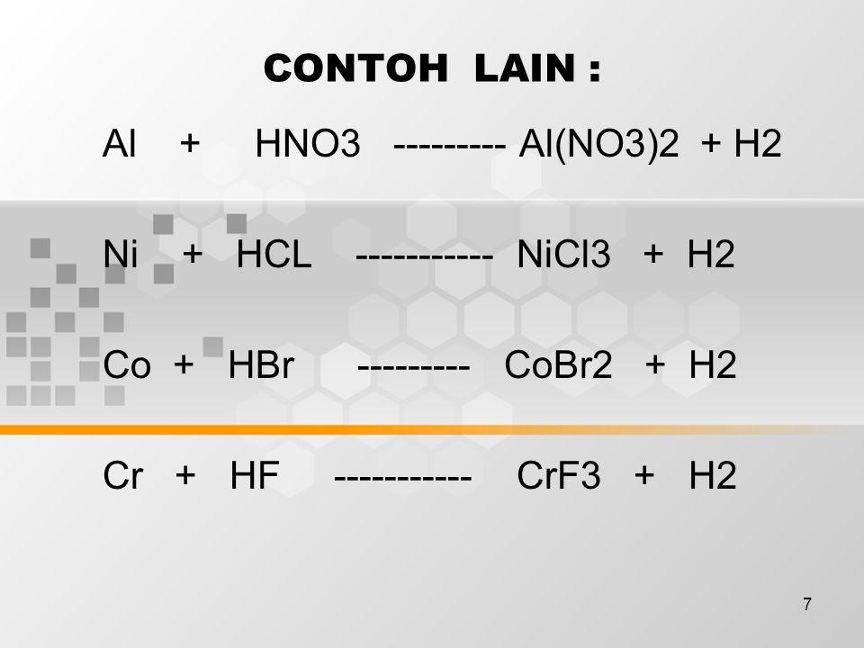 CONTOH LAIN : Al + HNO3 --------- Al(NO3)2 + H2. Ni + HCL ----------- NiCl3 + H2.