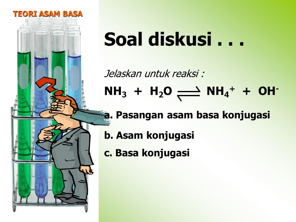 Soal diskusi . . . NH3 + H2O NH4+ + OH- Jelaskan untuk reaksi :