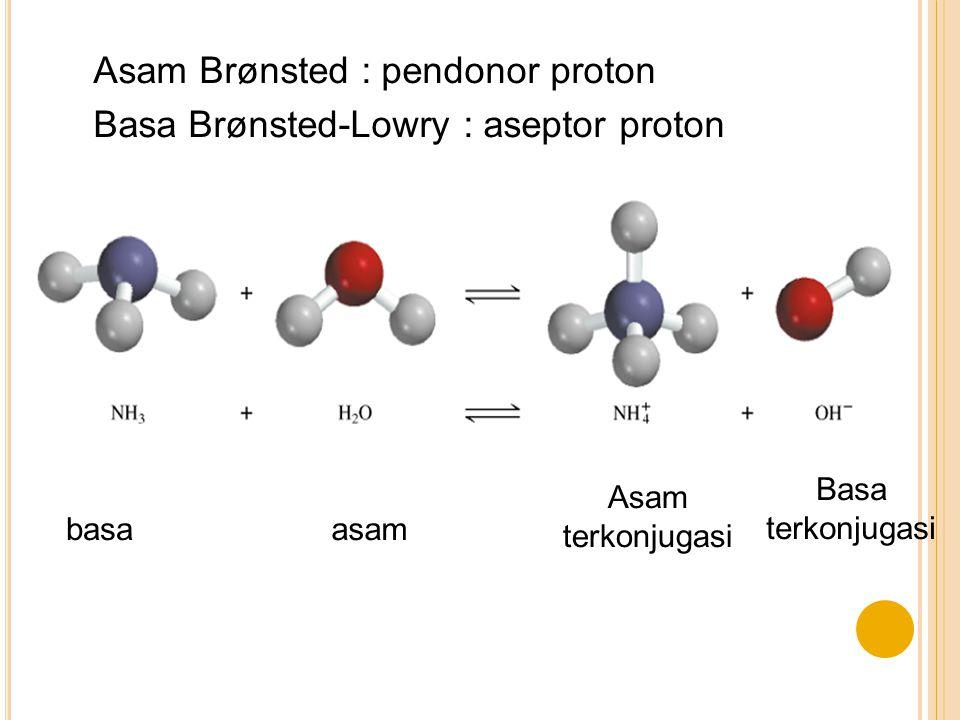 Asam Brønsted : pendonor proton Basa Brønsted-Lowry : aseptor proton