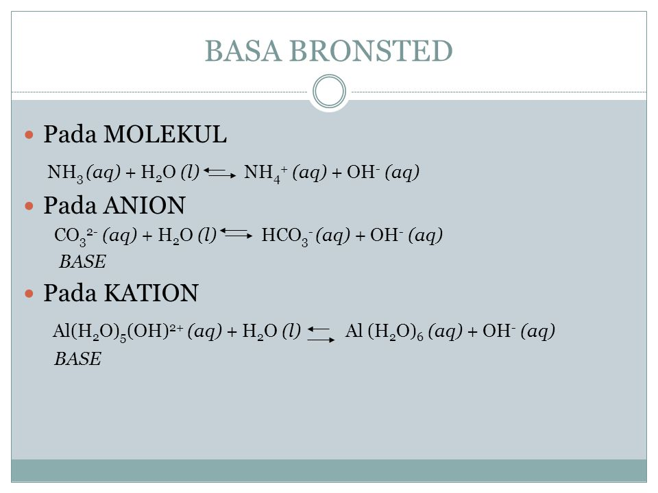BASA BRONSTED Pada MOLEKUL NH3 (aq) + H2O (l) NH4+ (aq) + OH- (aq)