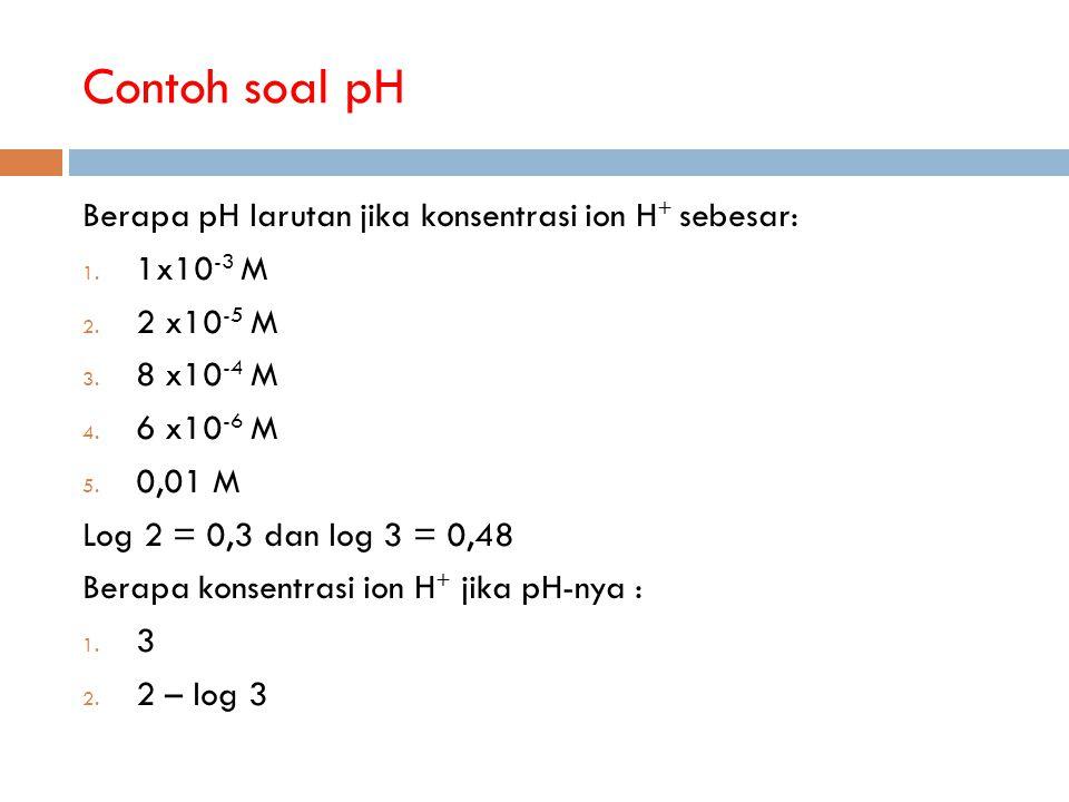 Contoh soal pH Berapa pH larutan jika konsentrasi ion H+ sebesar: