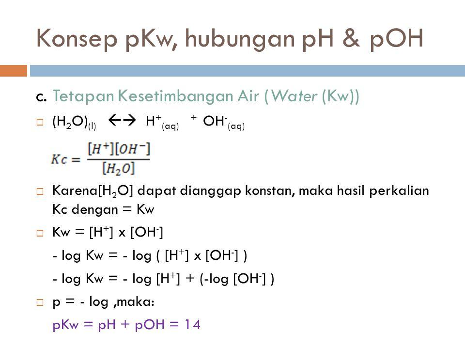 Konsep pKw, hubungan pH & pOH