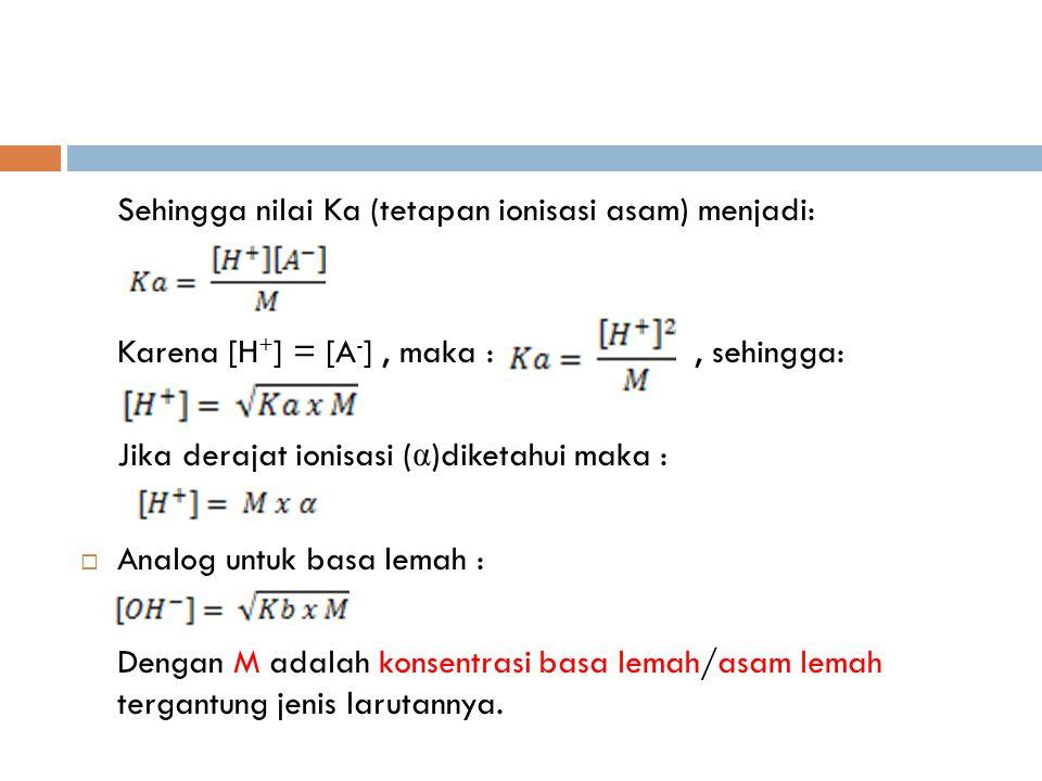 Sehingga nilai Ka (tetapan ionisasi asam) menjadi: