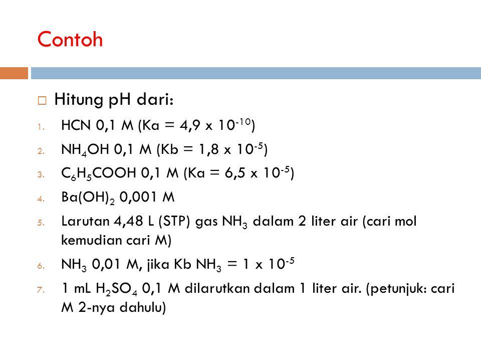 Contoh Hitung pH dari: HCN 0,1 M (Ka = 4,9 x 10-10)