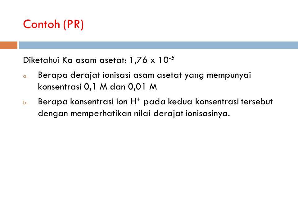 Contoh (PR) Diketahui Ka asam asetat: 1,76 x 10-5