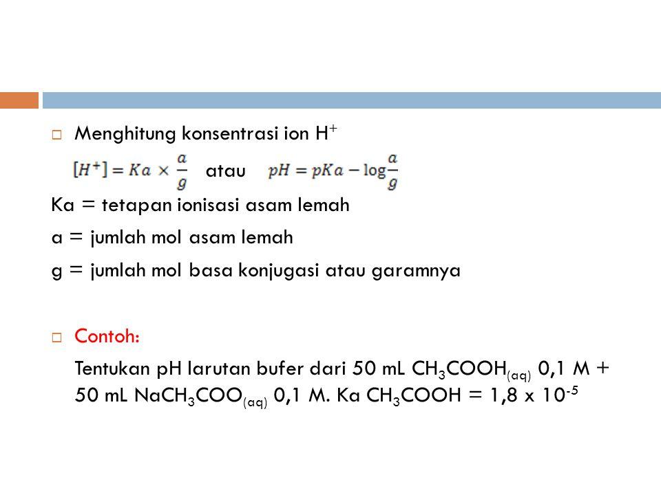 atau Menghitung konsentrasi ion H+ Ka = tetapan ionisasi asam lemah