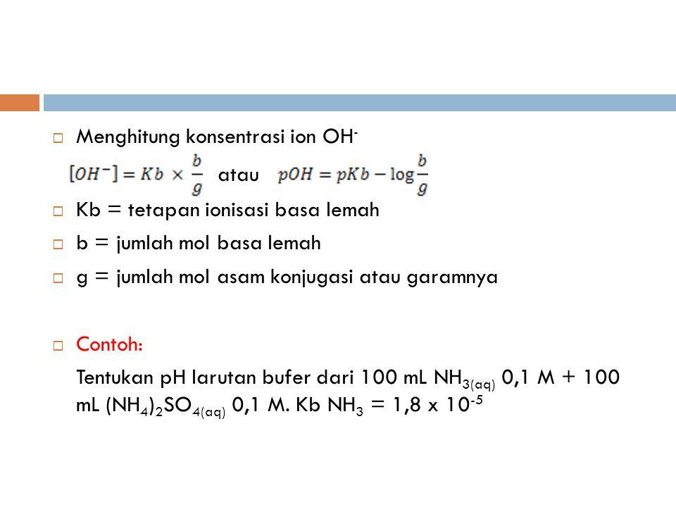 atau Menghitung konsentrasi ion OH- Kb = tetapan ionisasi basa lemah