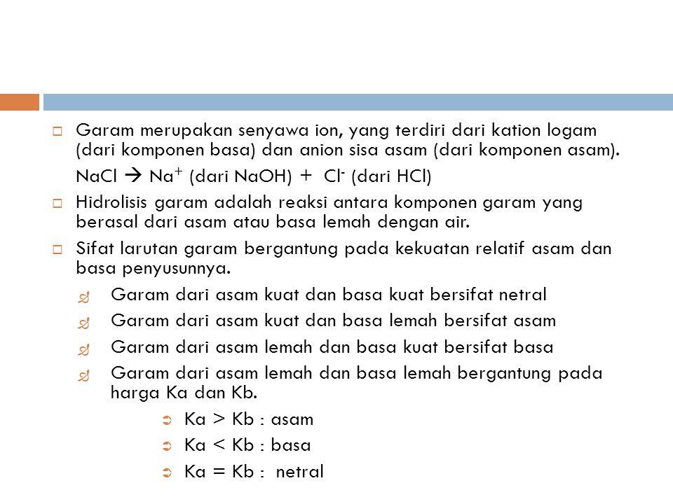 Garam merupakan senyawa ion, yang terdiri dari kation logam (dari komponen basa) dan anion sisa asam (dari komponen asam).
