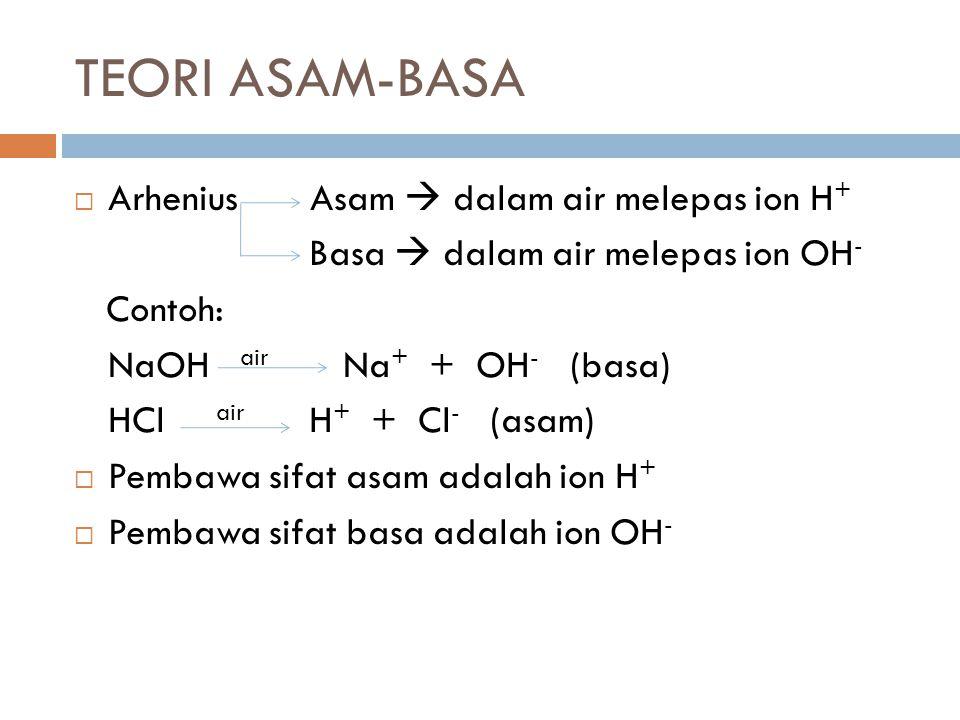 TEORI ASAM-BASA Arhenius Asam  dalam air melepas ion H+
