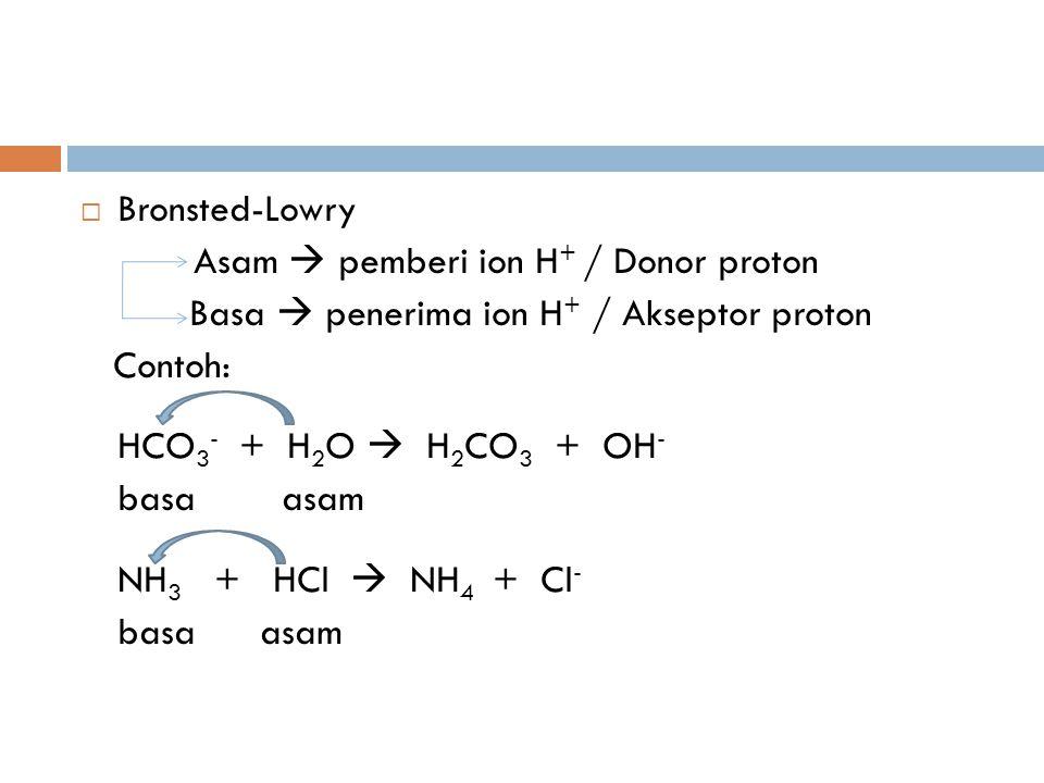 Bronsted-Lowry Asam  pemberi ion H+ / Donor proton. Basa  penerima ion H+ / Akseptor proton. Contoh: