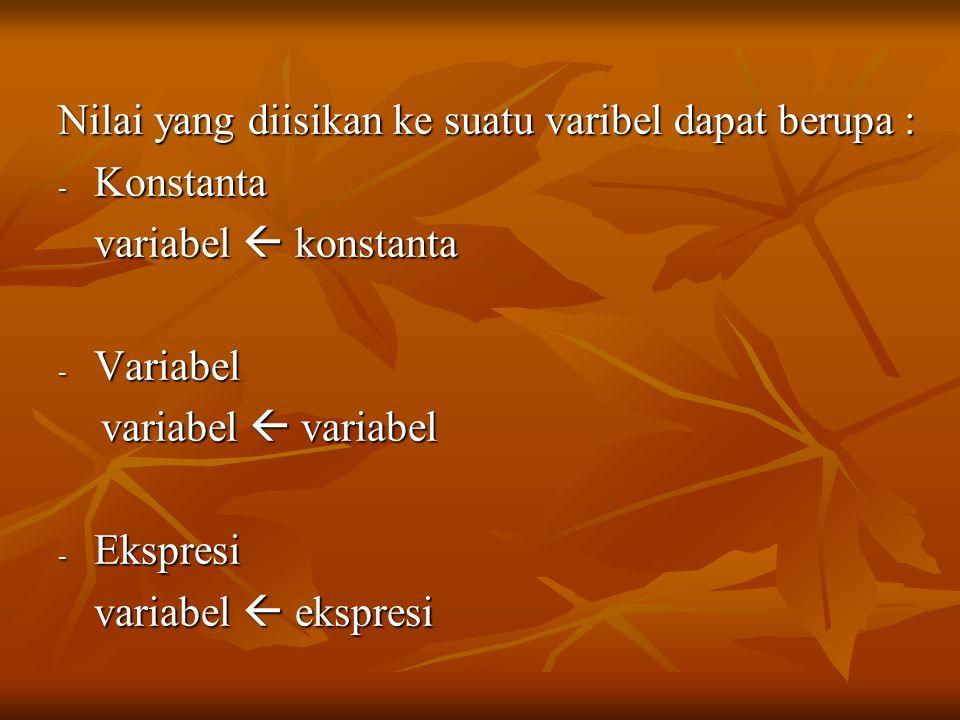 Nilai yang diisikan ke suatu varibel dapat berupa :