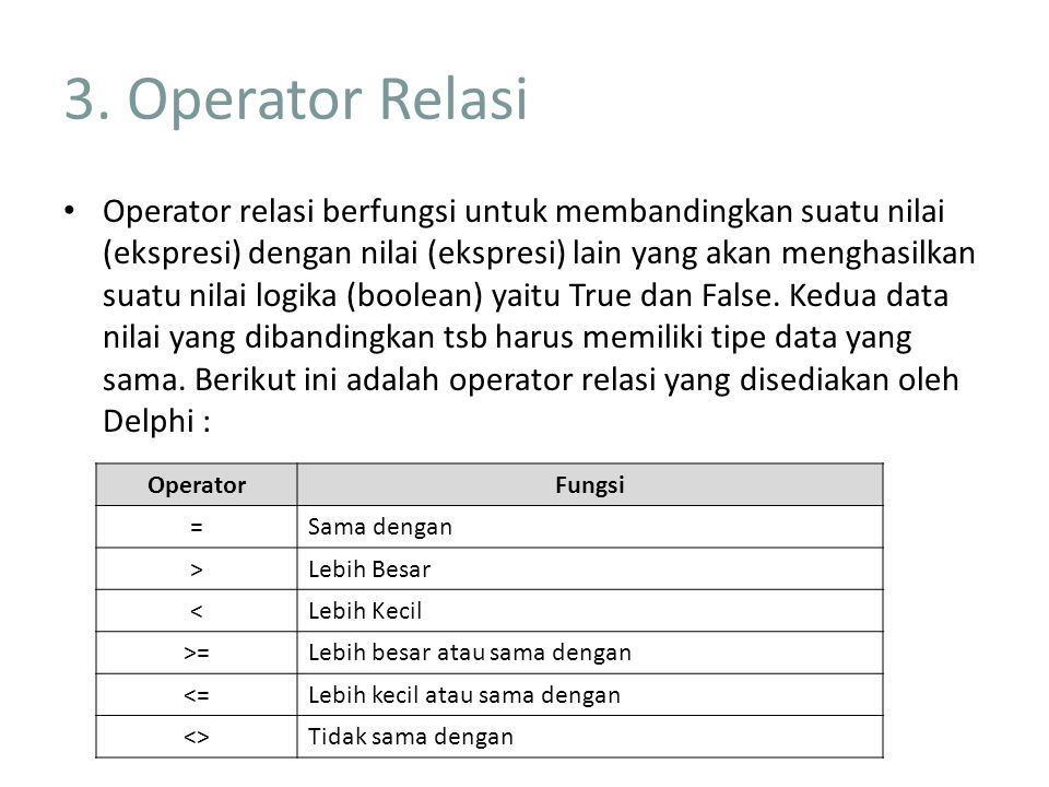 3. Operator Relasi